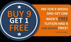 9 WEEKS - GET ONE WEEK FREE - LOW SEASON PRICE